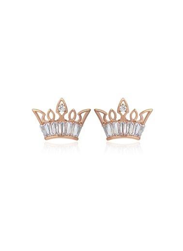 Tophills Diamond Co. 1,20 Ct Pırlanta Efekt Altın Crown Trapes Roz Küpe Renkli